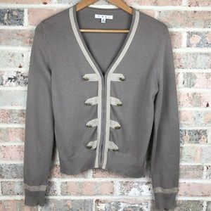 Cabi Neutral Brown Cardigan Military Inspired